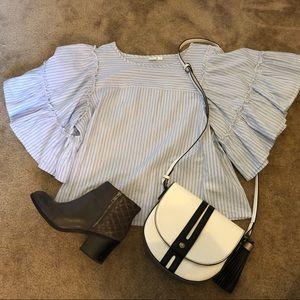 Pinstripe statement sleeve blouse